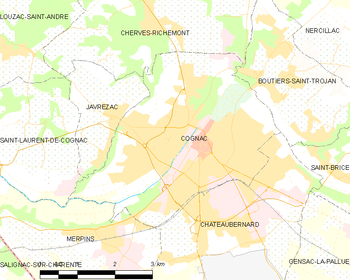 Map of the commune of Cognac