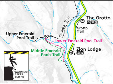 Map Of Emerald Pools Trail Inside Zion Canyon