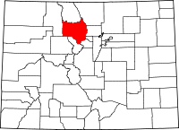 Map of Колорадо highlighting Grand County