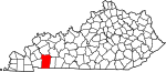 State map highlighting Christian County