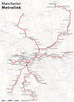 Map of Manchester Metrolink