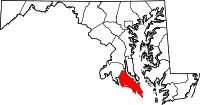 Map of Maryland highlighting Saint Mary's County