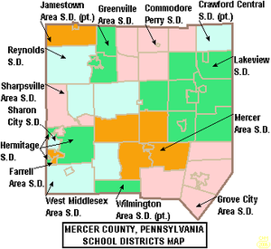 Farrell Area School District - Image: Map of Mercer County Pennsylvania School Districts