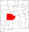 State map highlighting Socorro County