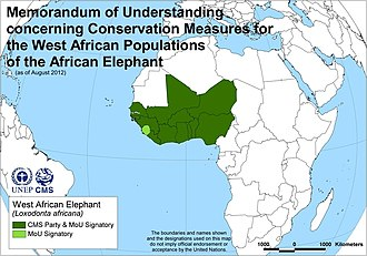 West African Elephant Memorandum of Understanding - Map of Signatories to the West African Elephant MoU, as of 15 August 2012