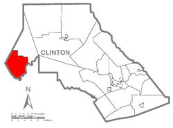 Map of Clinton County, Pennsylvania highlighting West Keating Township
