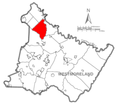 Map of Westmoreland County, Pennsylvania Highlighting Washington Township.PNG