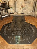 Black granite memorial stone in Southwark Cathedral, London