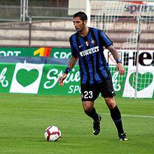 Materazzi con l'Inter, durante un'amichevole del 2009.