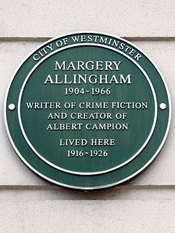 Margery allingham 1904 1966 writer of crime fiction and creator of albert campion lived here 1916 1926