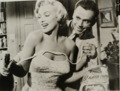 Marilyn Monroe and Tom Ewell in a promotional photo for the movie The Seven Year Itch, 1955.png
