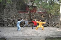 Martial arts is a popular pasttime in China. This photo of a Chen style Taijiquan class was taken at Fragrant Hills Park, Beijing, China.