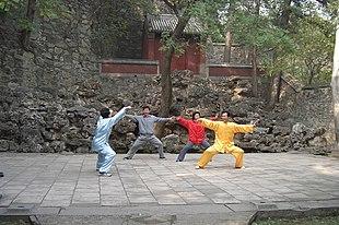 Praticanti di Taijiquan stile Chen nel parco delle Colline Profumate (????) a Pechino, Cina