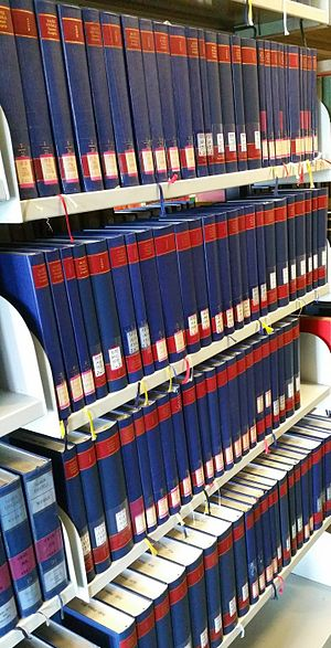 Marx-Engels-Gesamtausgabe - MEGA volumes in a library.