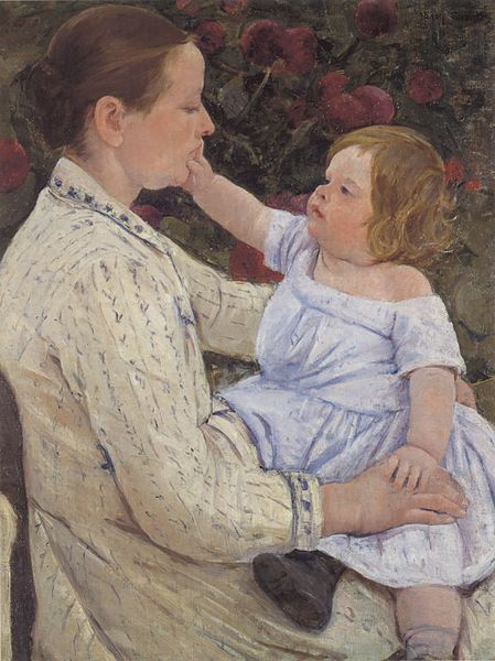 File:Mary Cassatt - 'The Child's Caress', oil on canvas, c. 1890, Honolulu Academy of Arts.jpg