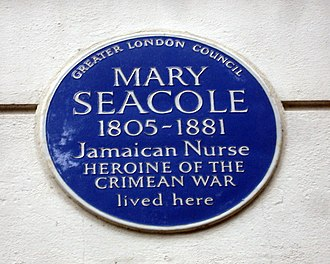 Mary Seacole - Plaque commemorating Mary Seacole at 14 Soho Square, London W1.