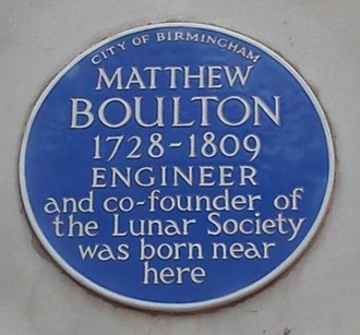 Matthew Boulton - Blue Plaque for Matthew Boulton commemorating his birthplace in Birmingham, England