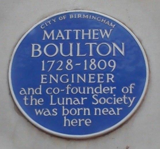 Matthew Boulton Blue Plaque birthplace Birmingham