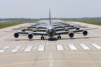 McConnell Air Force Base - Boeing KC-135 Stratotankers based at McConnell in formation as they taxi down a runway.