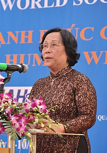 Mdm Phạm Thị Hải Chuyền, Minister of Labour, War Invalids and Social Affairs speaks at the Social Work Day event in Hanoi (8168721418) cropped.jpg