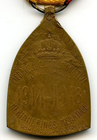 Commemorative Medal of the 1914–1918 War - Image: Medaille commemorative 14 18 revers Belgique