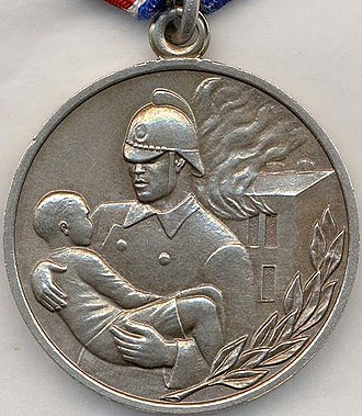 """Medal """"For Courage in a Fire"""" - Reverse of the Medal """"For Courage in a Fire"""""""