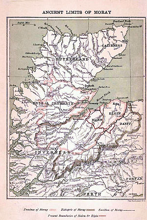 County of Moray - Map of medieval Moray from A History of Moray and Nairn by Charles Rampini, Edinburgh, 1897