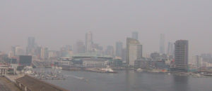 2006–07 Australian bushfire season - The city of Melbourne swathed in smoke during the 2006–2007 bushfire season.