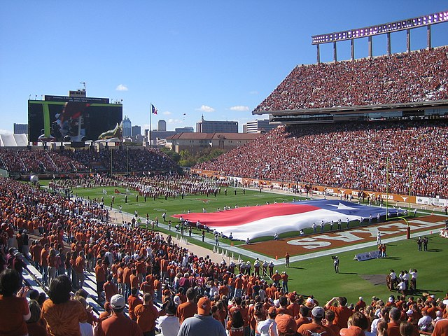 Darrell K Royal–Texas Memorial Stadium, home of Texas Longhorns football. Photo taken by surelyitsjohn.