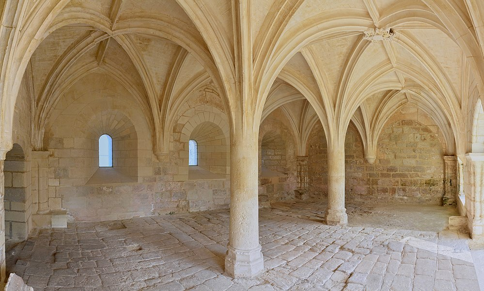 NNW view of the chapter hall of the abbey of La Frenade, Merpins, Charente, France.