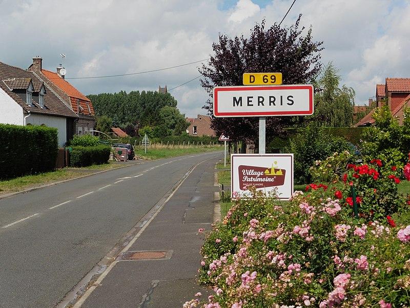 Panneau de la ville de  Merris,  Nord.- (Nord-Pas-de-Calais).-  France.