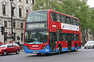 Metroline - Alexander Dennis Enviro400 on route 24 at Westminster tube station in May 2006 with light blue skirt