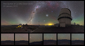 Upper-atmospheric lightning - Midsummer night sprites at La Silla Observatory.