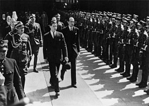 Polish–Romanian Alliance - Crown Prince Michael of Romania with Polish Foreign Minister Józef Beck in Warsaw, 24 May 1937.