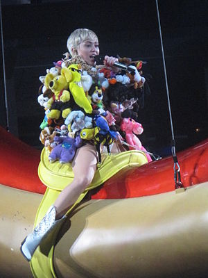 Miley Cyrus - Cyrus performs on the Bangerz Tour in Vancouver in February 2014.