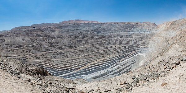 Chuquicamata is a state-owned copper mine located at 9,350 feet (2,850m) above sea level just outside Calama, north of Chile.