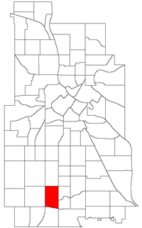 Location of Tangletown within the U.S. city of Minneapolis