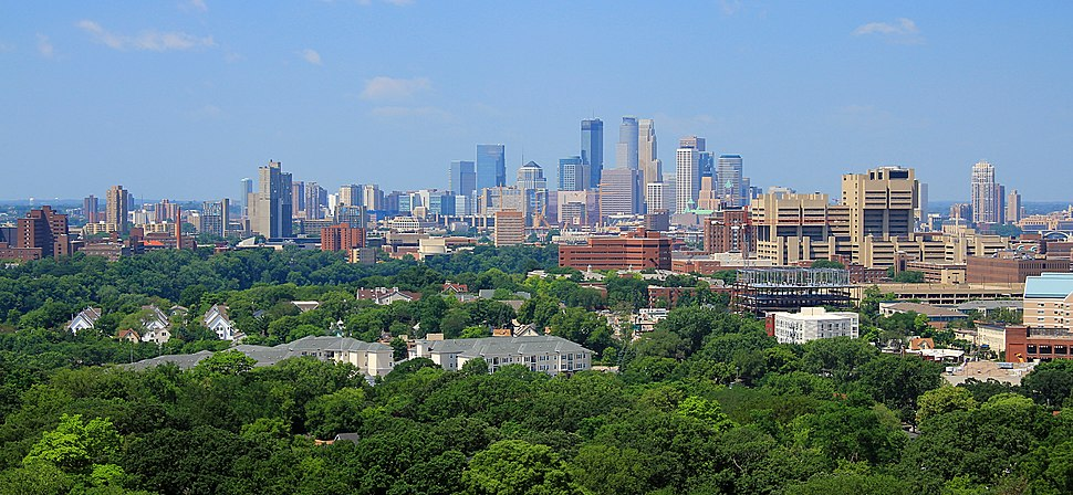 The Minneapolis skyline seen from the Prospect Park Water Tower in July 2014