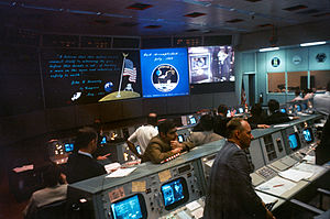 Johnson Space Center - Mission Operations Control Room 2 at the conclusion of Apollo 11 in 1969