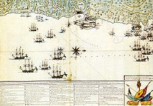 Map of russian navy attack on Mytilene 2-4 november 1771 year.