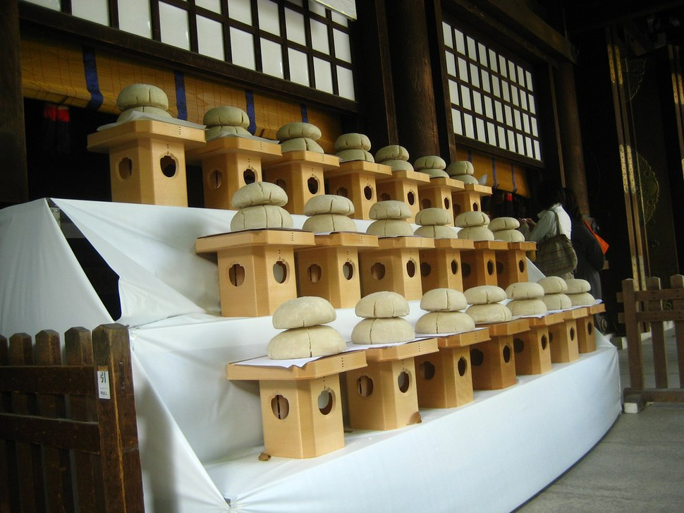 Mochi offerings by SaddaGocaraRupa at Meiji Jingu