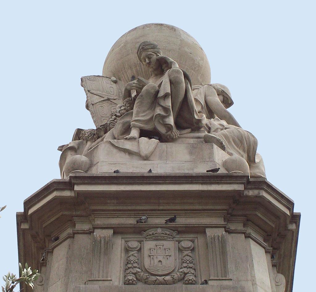 Los Cinco Continentes leyendo a Don Quijote. Detalle Monumento a Cervantes en la Plaza de España de Madrid