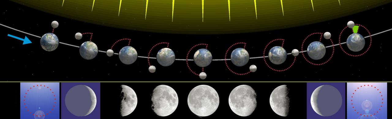 Các pha của Mặt trăng.