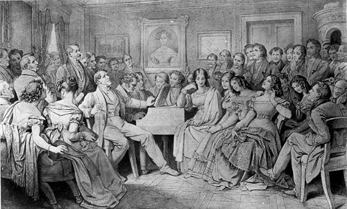 Schubertiade, bekannt unter dem Titel Ein Schubert-Abend bei Joseph von Spaun, mit Franz Schubert am Klavier (Sepia-Zeichnung von Moritz von Schwind, 1868, Wien Museum, Wien) (Quelle: Wikimedia)