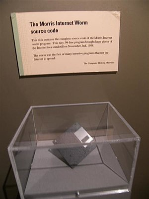 Computer worm - Morris worm source code floppy diskette at the Computer History Museum