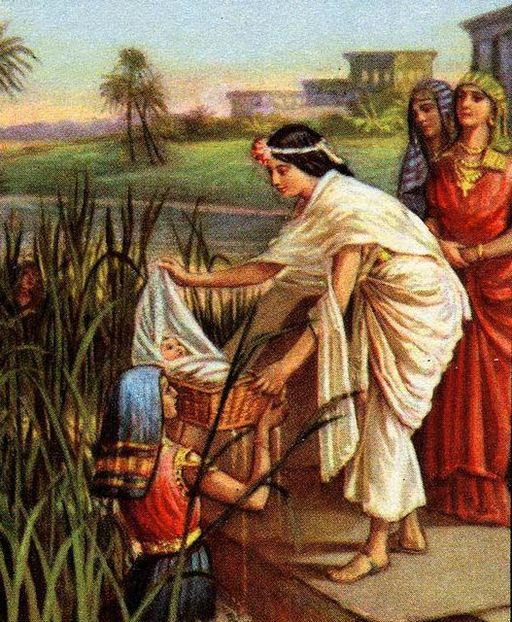 Moses as a baby is discovered by Pharaoh's daughter