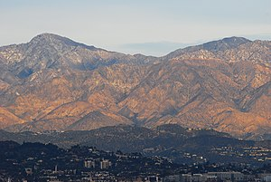Baldwin Hills/Crenshaw, Los Angeles - View of Hollywood Hills (lower eastern Santa Monica Mountains) and tall San Gabriel Mountains from Baldwin Hills from the Baldwin Hills Scenic Overlook Park.