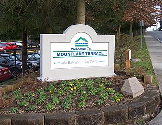 Mountlake Terrace, Washington - Welcome sign at Interstate 5 and 236th Street Southwest