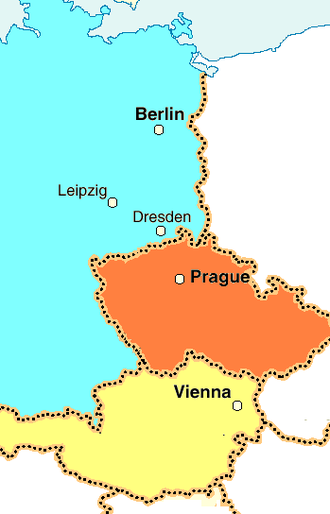 Mozart's Berlin journey - The cities of Vienna, Prague, Dresden, and Berlin lie on a roughly north-south axis, in the present-day nations of Austria (tan), the Czech Republic (orange) and Germany (light blue); Leipzig falls somewhat to the west of this axis.  Distances: Vienna-Prague, 251 km; Prague-Dresden, 118 km; Dresden-Leipzig, 102 km; Leipzig-Berlin, 153 km.