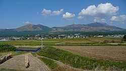 View of Mount Aso from Minami-Aso